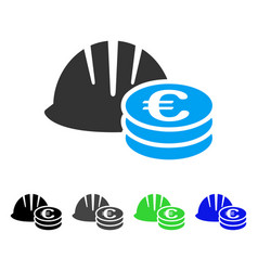 Helmet and euro coins flat icon vector
