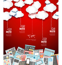 Ideal cloud technology background with flat style vector