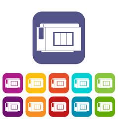 Inkjet printer cartridge icons set vector