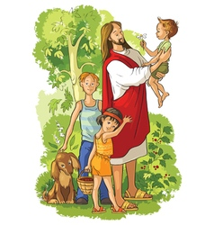 jesus with children vector image vector image