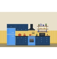 Kitchen room for food cooking interior with stove vector