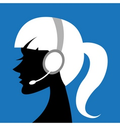 lady with headphone vector image vector image