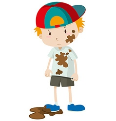 Little boy wearing dirty clothes vector