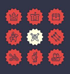 Medieval war line icons set vector