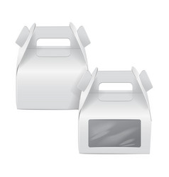 Realistic paper cake package set white box mock vector