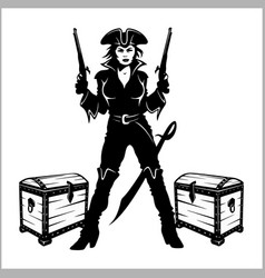 Sexy pinup dressed as a pirate vector