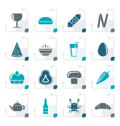 Stylized shop food and drink icons vector