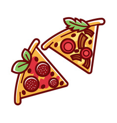 Tasty pizza pieces with delicious salami and ripe vector