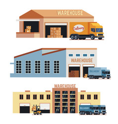Warehouse building industrial construction and vector
