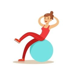 Woman training abs on rubber ball member of the vector