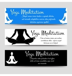 Meditation men yoga horizontal banners set vector