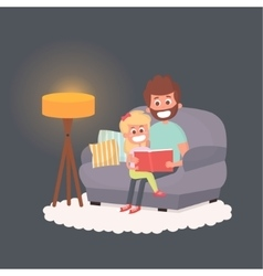 Father read a storybook to his daughter at night vector