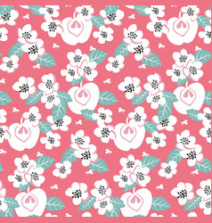 Elegant seamless pattern with white flowers vector