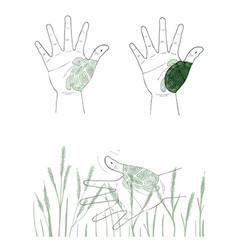 hand gesture with turtle painting on white backgro vector image