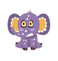 Cute cartoon baby elephant character sitting on a vector