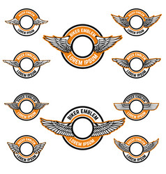 Set of blank emblems with wings label templates vector