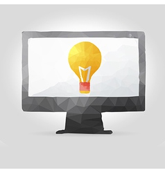 Computer screen in polygon design vector
