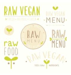 Raw vegan badges vector image