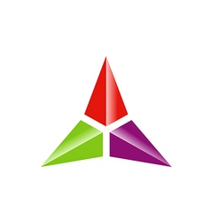 Triangle three star color technology logo vector