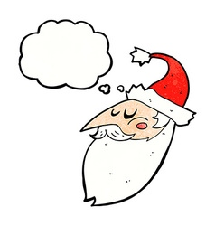 Cartoon santa face with thought bubble vector