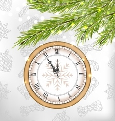 New year midnight background with clock vector