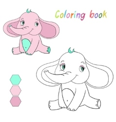 Coloring book elephant kids layout for game vector
