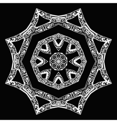 White star pattern hand-drawn design on black vector
