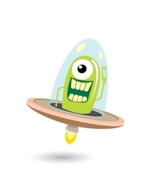 Ufo green alien  flying saucer vector