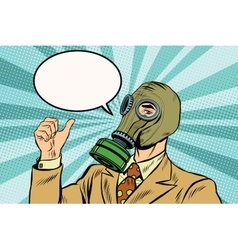 Gas mask man thumb up vector