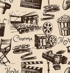Movie film cinema seamless pattern hand drawn vector