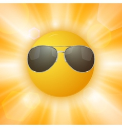 Abstract sun with sunglasses vector
