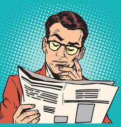avatar portrait man reading a newspaper vector image