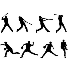 baseball silhouettes collection 4 vector image