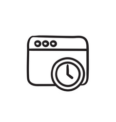 Browser window with clock sign sketch icon vector