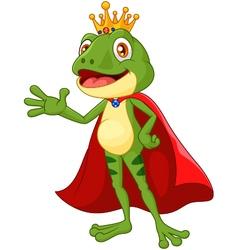 Cartoon adorable king frog waving hand vector image