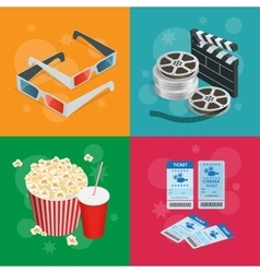 Concept cinema banners realistic cinema concept vector