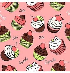 Cupcake seanless vector image vector image