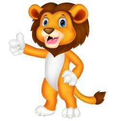 Cute lion cartoon giving thumb up vector image vector image