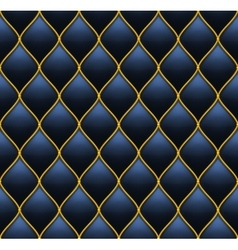 Dark deep blue with gold quilted leather seamless vector