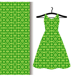 Dress fabric with green arabic pattern vector
