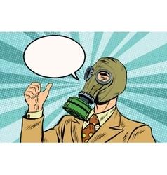 Gas mask man thumb up vector image