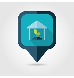 Greenhouse flat pin map icon map pointer vector