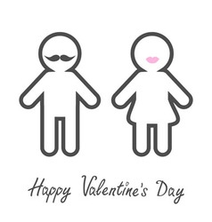 Happy valentines day love card man woman icon with vector