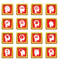 Head logos icons set red vector