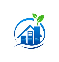 House water leaf ecology logo vector