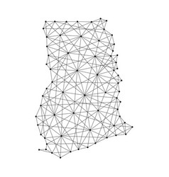 Map of ghana from polygonal black lines and dots vector