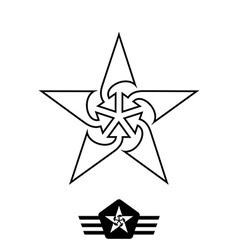 minimal monochrome vintage star with arrows made vector image vector image