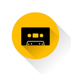 Modern audio icon with long shadow vector