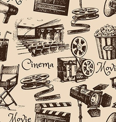 Movie film cinema seamless pattern Hand drawn vector image vector image