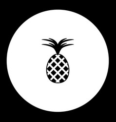 One isolated pineapple simple black icon eps10 vector